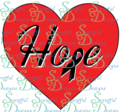 Hope in hearts w/ ribbon